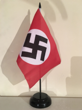 GERMAN WWII REGULAR (NAZI) - TABLE FLAG WITH BLACK WOODEN BASE